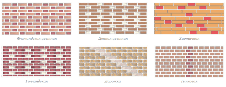варианты плоских орнаментов кладки кирпича